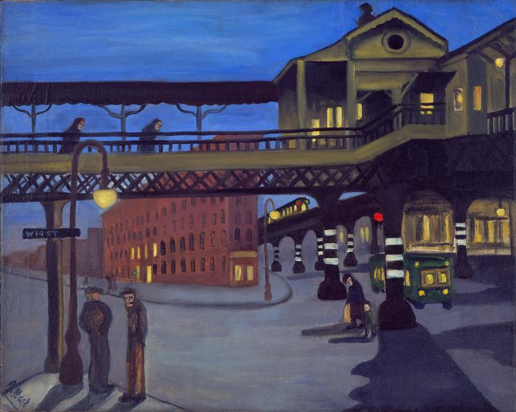 Alice Neel (1900 - 1984) 	NINTH AVENUE EL  1935 	Oil on canvas 	24 x 30 inches 	61 x 76.2 centimeters
